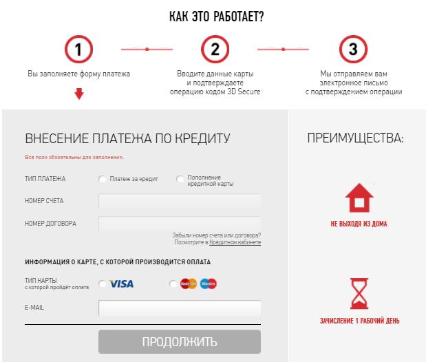 оплата кредита ХКБ банковской картой